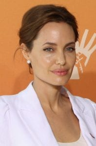Angelina Jolie showing her beautiful neckline and sculpted jaw