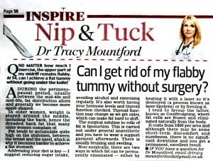 Daily Mail 'Nip & Tuck' 20062016. Dr Tracy Mountford - Can I get rid of my flabby tummy without surgery?