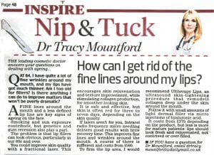 Daily Mail -'Nip and Tuck' 2016-06-13. Dr Tracy Mountford - How can I get rid of the fine lines around my lips?