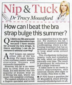 An article in the Daily Mail asking how to get rid of fat around the bra strap area