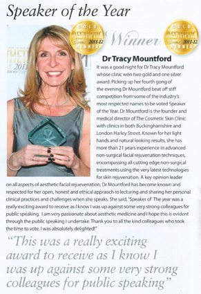 Dr Tracy Mountford wins Gold Speaker of the Year Award at Aesthetic Awards