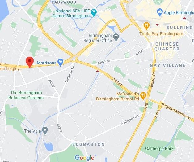 Birmingham CoolSculpting Clinic Map