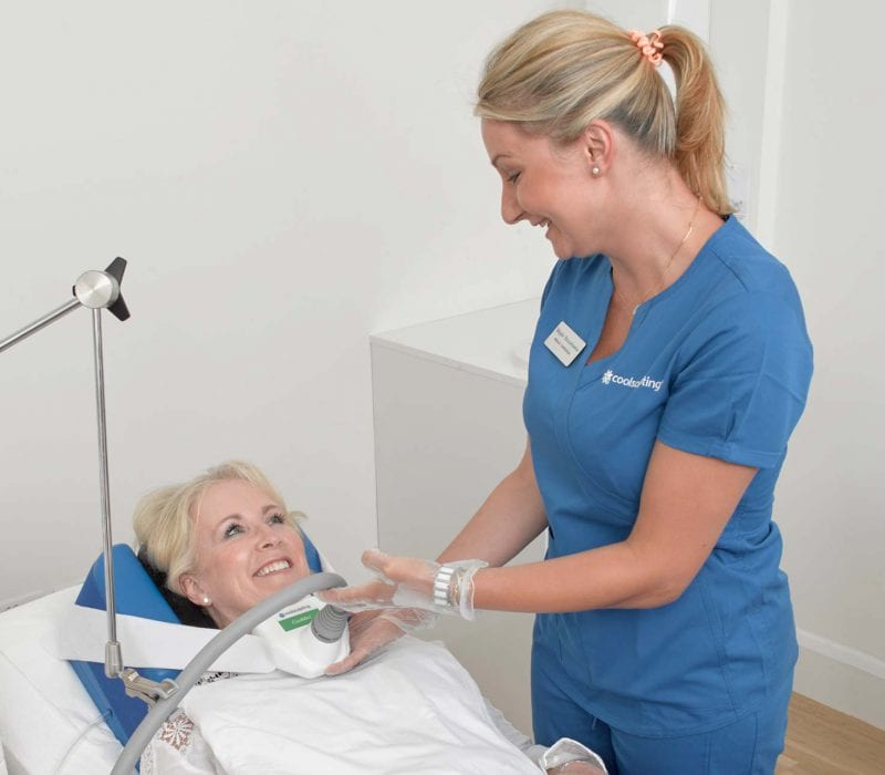 A lady having CoolSculpting on her neck